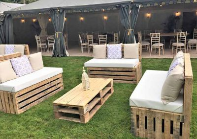 pallet furniture hire, wedding furniture, out door furniture, event furniture, hire