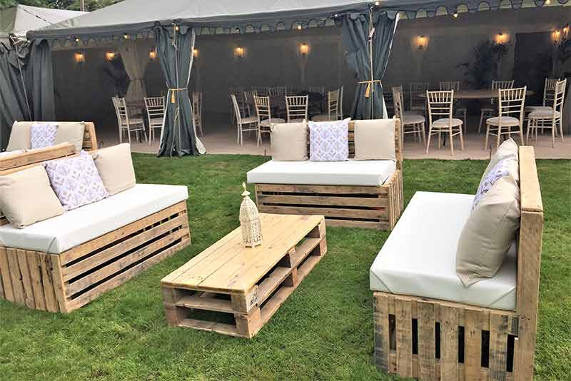Beau Pallet Furniture Hire   Three Benches In A Horse Shoe Formation