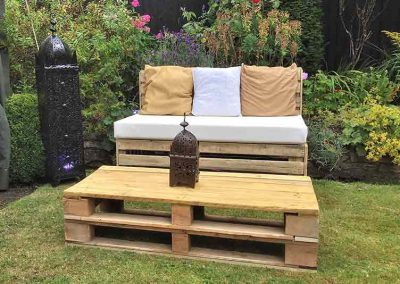 pallet furniture hire, pallet bench, pallet coffee table, event furniture, hire