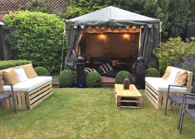 Small marquee hire, pallet furniture hire, pallet bench, pallet coffee table, event furniture, hire